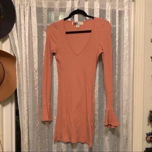 Free People Ribbed Long Sleeve Peach/ Pink Dress